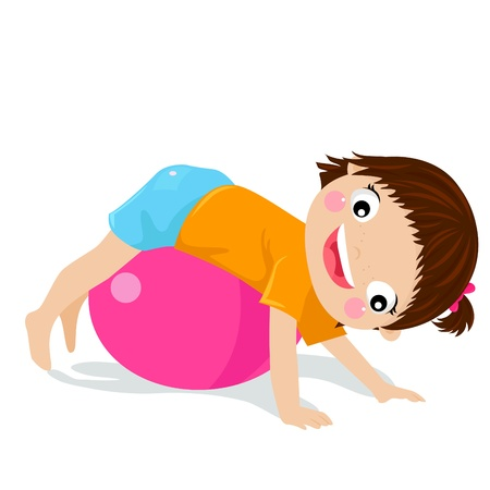 relaxation exercise: girl in big red jumping ball  Illustration