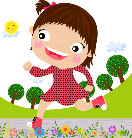 Little girl running Stock Vector - 15107910