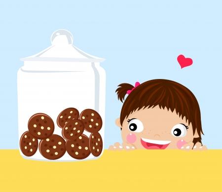 maliziosa: bambina guardando i cookie in un barattolo-vettore