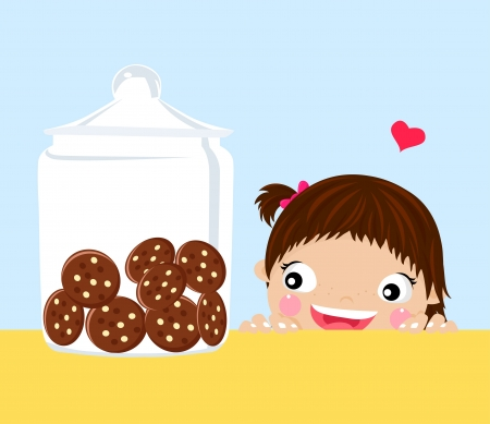 little girl eating: little girl looking at cookies in a jar-vector