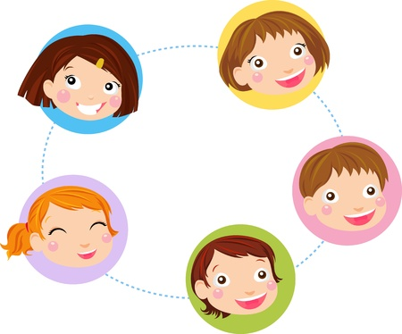 Kids Face Set  Vector