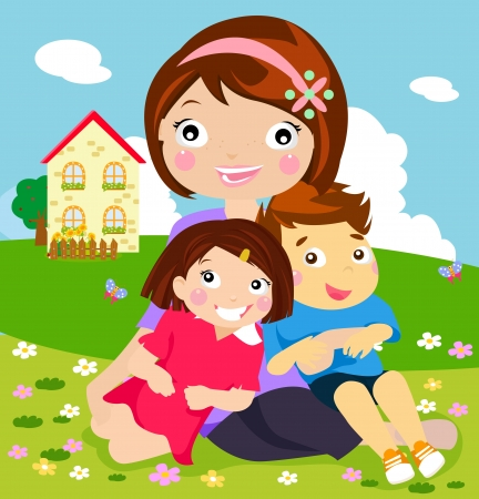 Mother and her kids  Vector