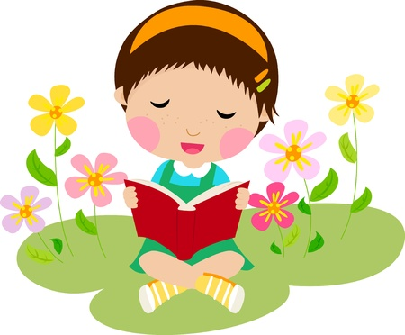 A little girl reading a book  Vector