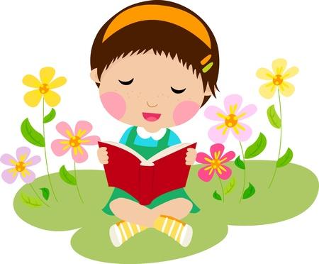 Une petite fille lisant un livre Vecteurs