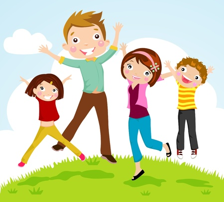woman jump: family jumping  Illustration