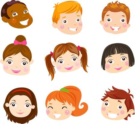 black hair girl: Kids Face Set