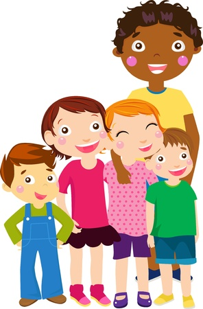 five kids  Vector