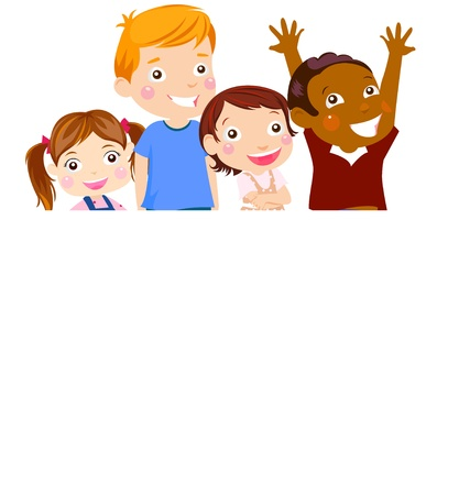 group of kids and banner Vector