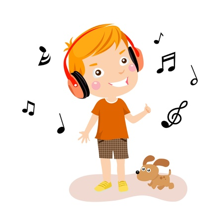 people listening: Happy boy listening to music  Illustration