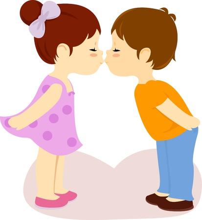 cartoon kiss: Valentine kiss  Illustration
