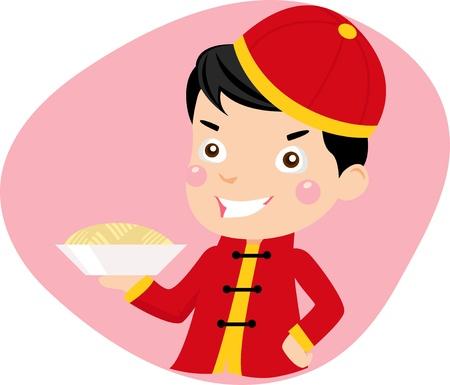 eating food: un ragazzo e tagliatelle Vettoriali