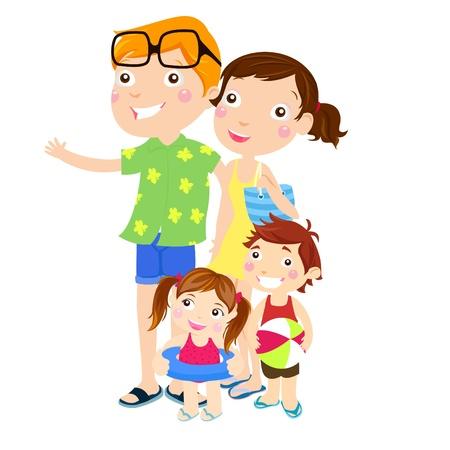 family clipart: Outing famiglia in spiaggia Vettoriali