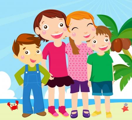 kids on beach Vector
