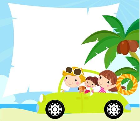 family holiday: cartoon funny happy family goes on holiday by car