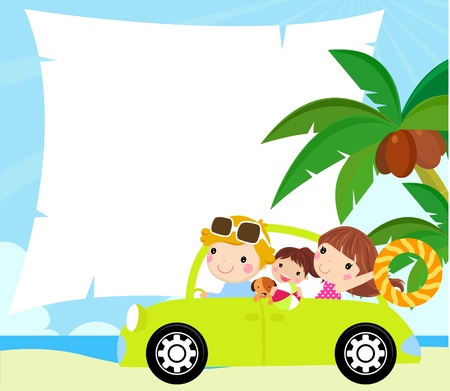 reiziger: cartoon grappig gelukkig gezin gaat op vakantie met de auto Stock Illustratie