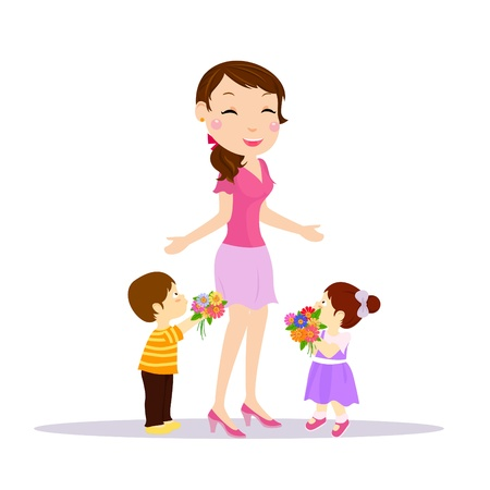 mother and kids  Vector