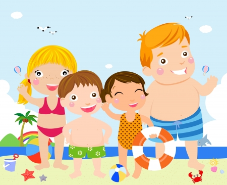 personages: kids on beach
