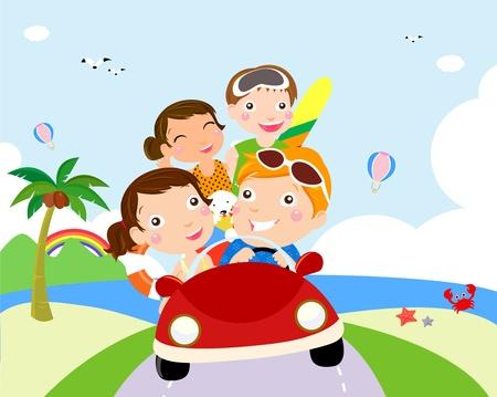 asian family fun: family travel Illustration