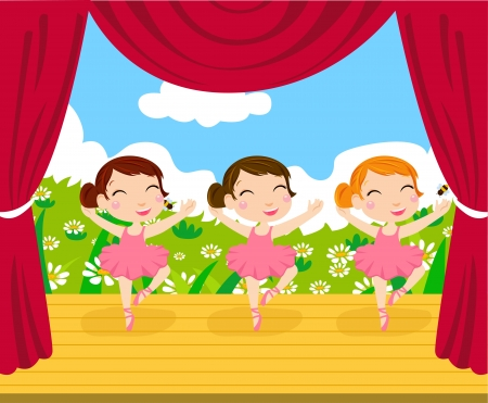 Cute small ballerina  Vector illustration  Vector