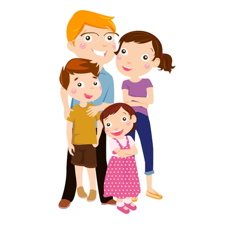 female child: Family with two children Illustration