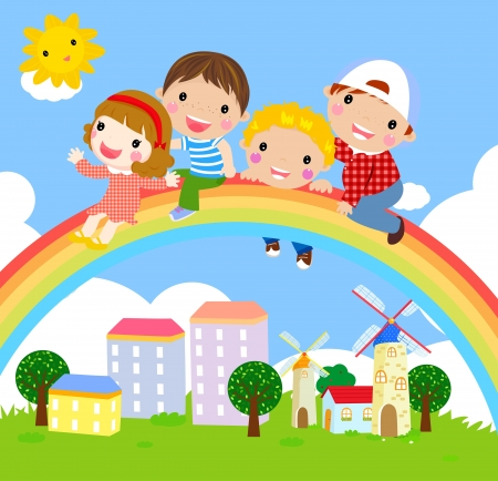 children at play: kids and rainbow-vector