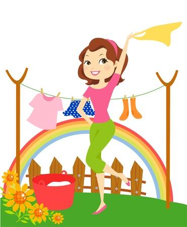 laundry line: Historieta del ama de casa colgar la ropa Vectores