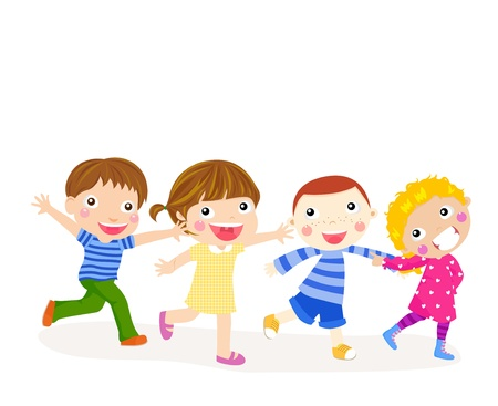 kids holding hands: kids playing