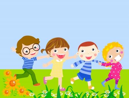 Four kids running Stock Vector - 21932891