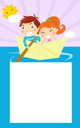 pleasure boat: boy and girl Illustration
