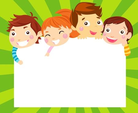 children school clip art: four kids and banner