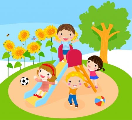 niños jugando en el parque: niños jugando Vectores