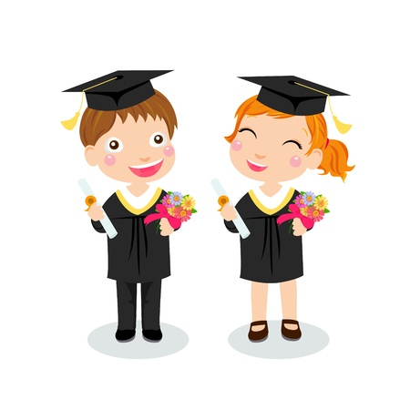 gown: boy and girl graduate  Illustration
