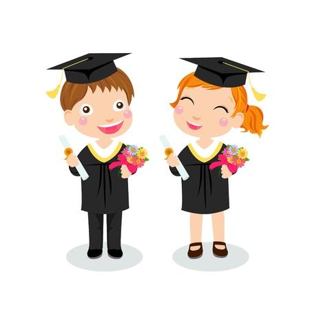 graduacion escolar: chico y chica graduado