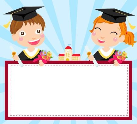 graduacion escolar: ni�o y una ni�a de grado y bandera