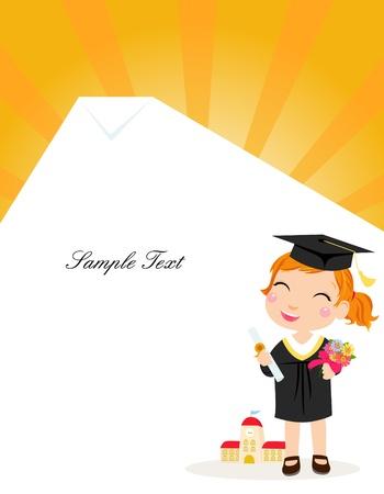 graduacion niños: Un graduado de la muchacha Vectores