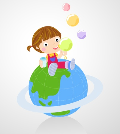 Little girl blowing bubble Vector