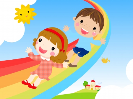 gladness: kids and rainbow-vector
