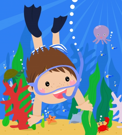 young boy in pool: boy diving in the sea with mask and snorkel