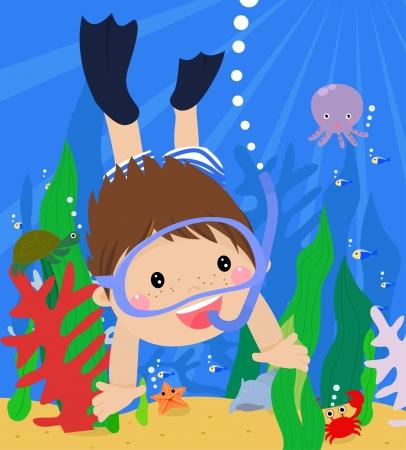 Chłopiec nurkowania w morzu z maską i fajka