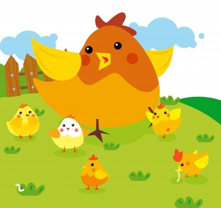 pollo caricatura: Gallina con pollos Vectores