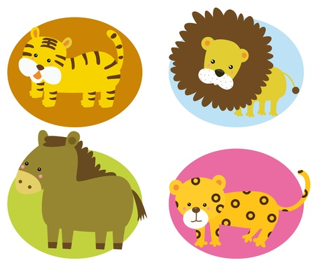 four cute animals  Vector