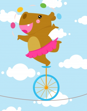 acrobatic: Tightrope hippo  Illustration