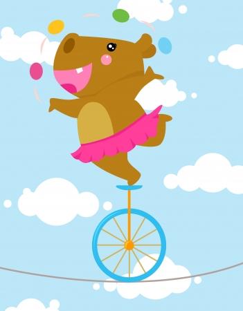 tightrope: Tightrope nijlpaard Stock Illustratie