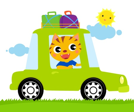 A cat travel car Vector