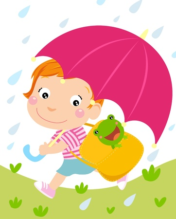 Little girl and umbrella,raining Vector