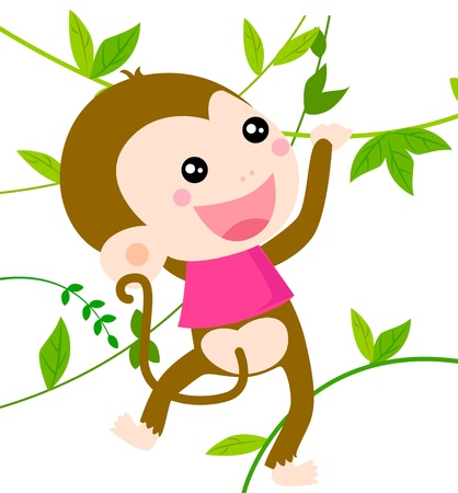 Funny monkey cartoon Vector
