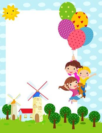 drie kinderen en frame Stock Illustratie