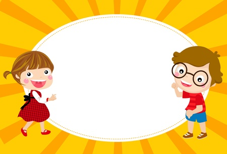 children school clip art: Cute cartoon kids frame
