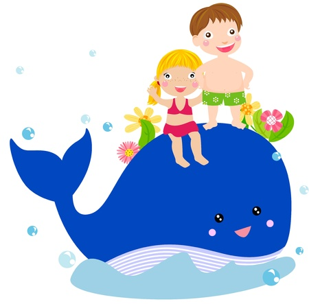 sea water: kids and whale  Illustration