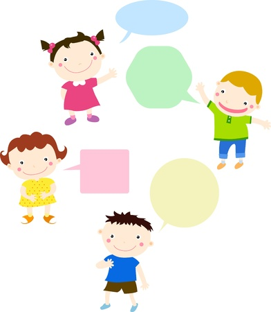 eurasian: Kids talking and thinking with speech bubbles